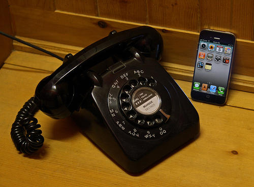 rotary phone and iPhone