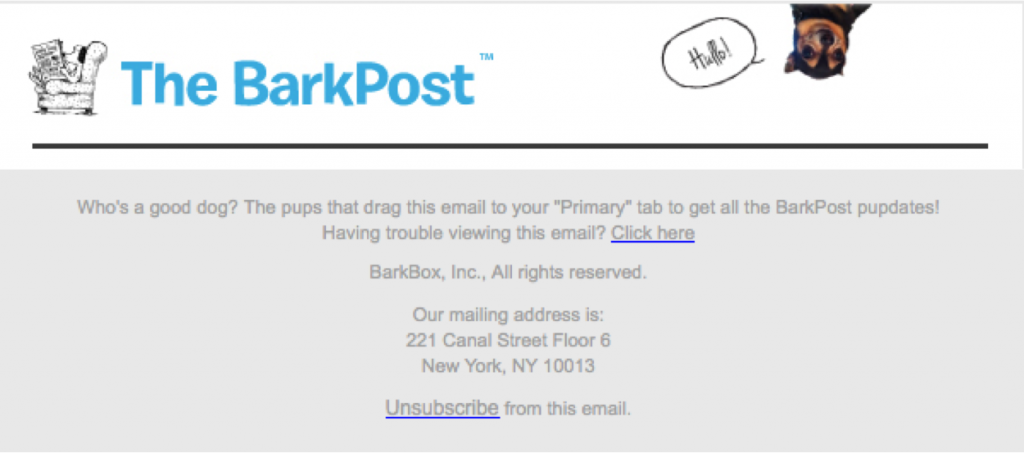 Unsubscribe Example from ParkPost