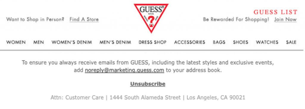 Unsubscribe Example from Guess