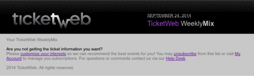 Unsubscribe Example from TIcketWeb