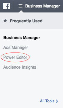 Where to find Facebook Power Editor