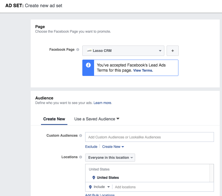 Create a Facebook Ad Set