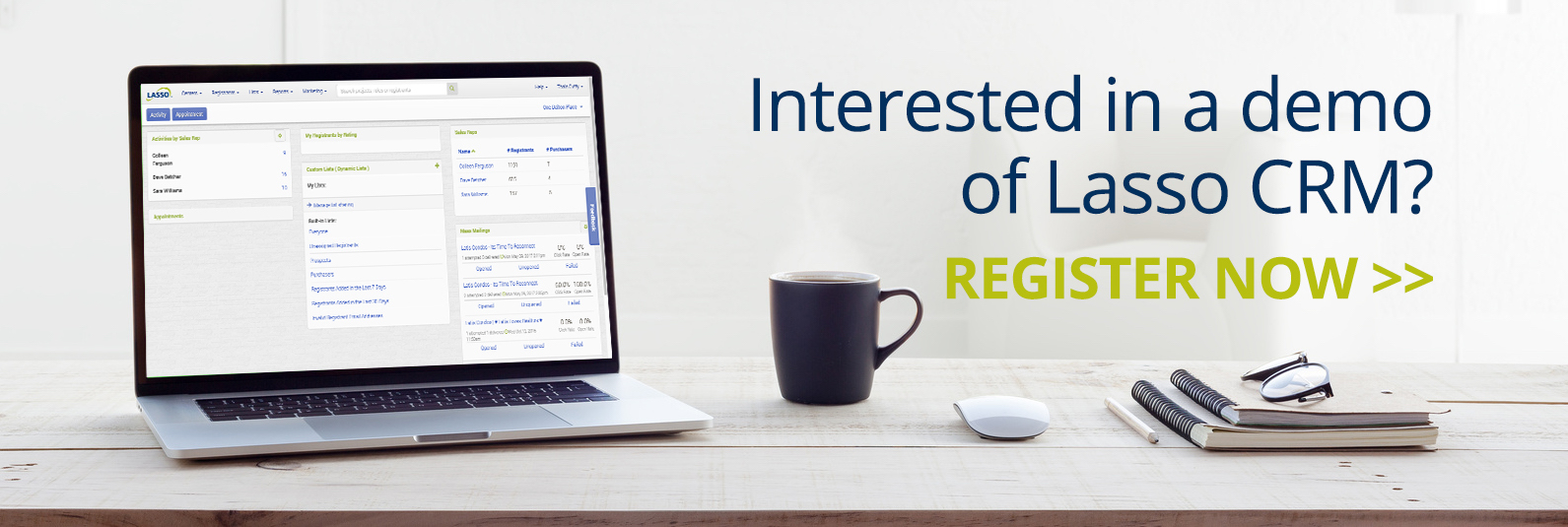 Register for a demo of Lasso CRM