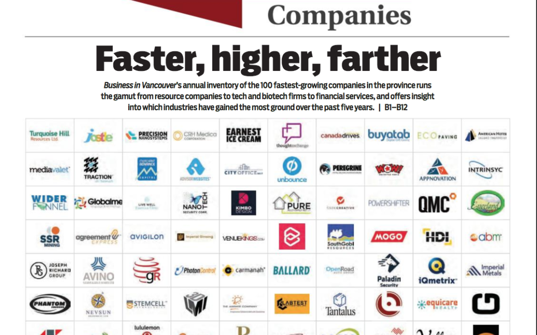 Lasso CRM Named Among Vancouver's Fastest Growing Companies in 2018